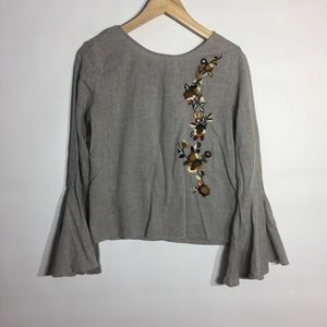 Zara embroidered bell sleeve beautiful top